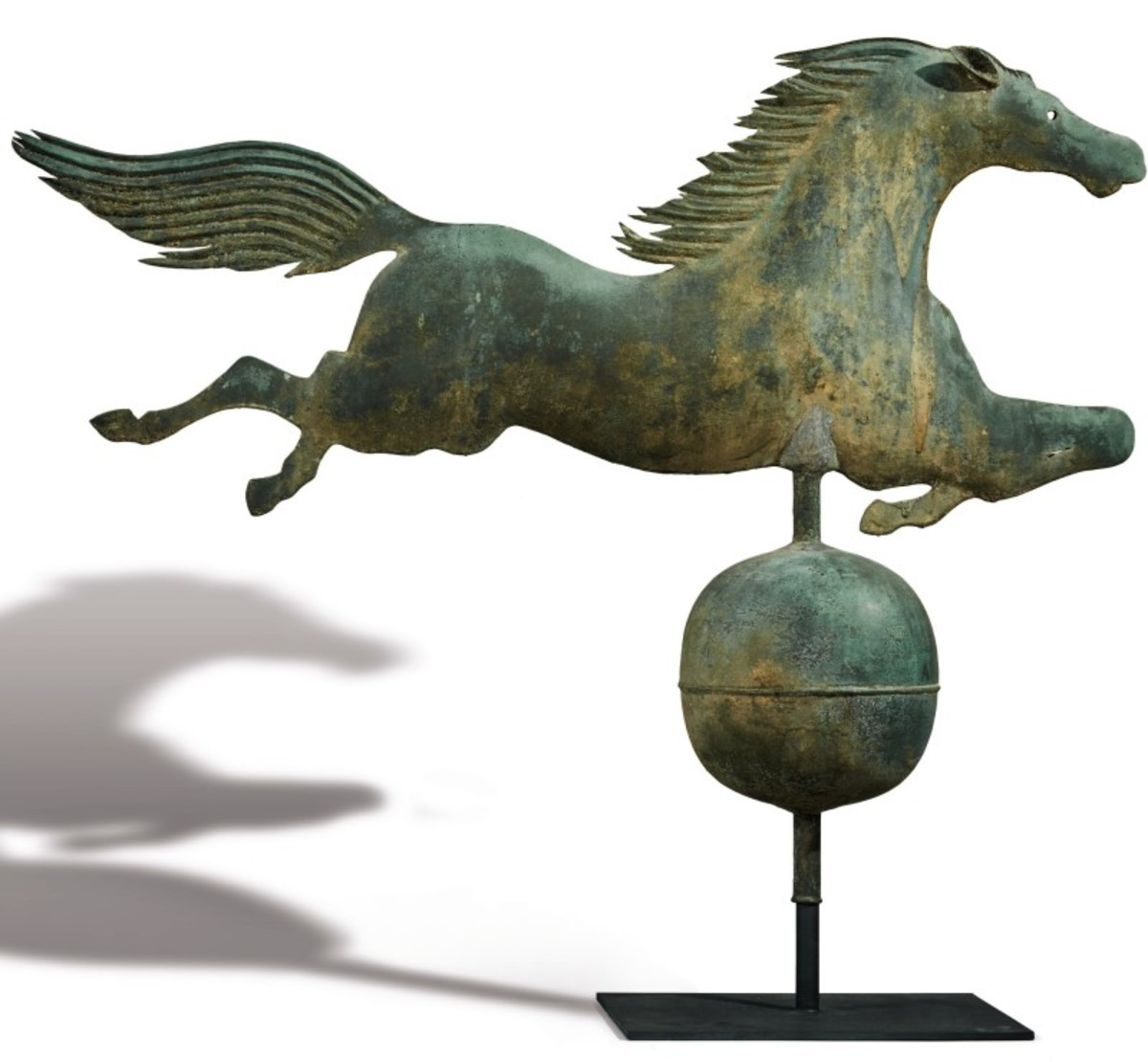 Exceptional molded copper Leaping Horse Weathervane, Boston, ca. 1860. Sold at auction for $150,000