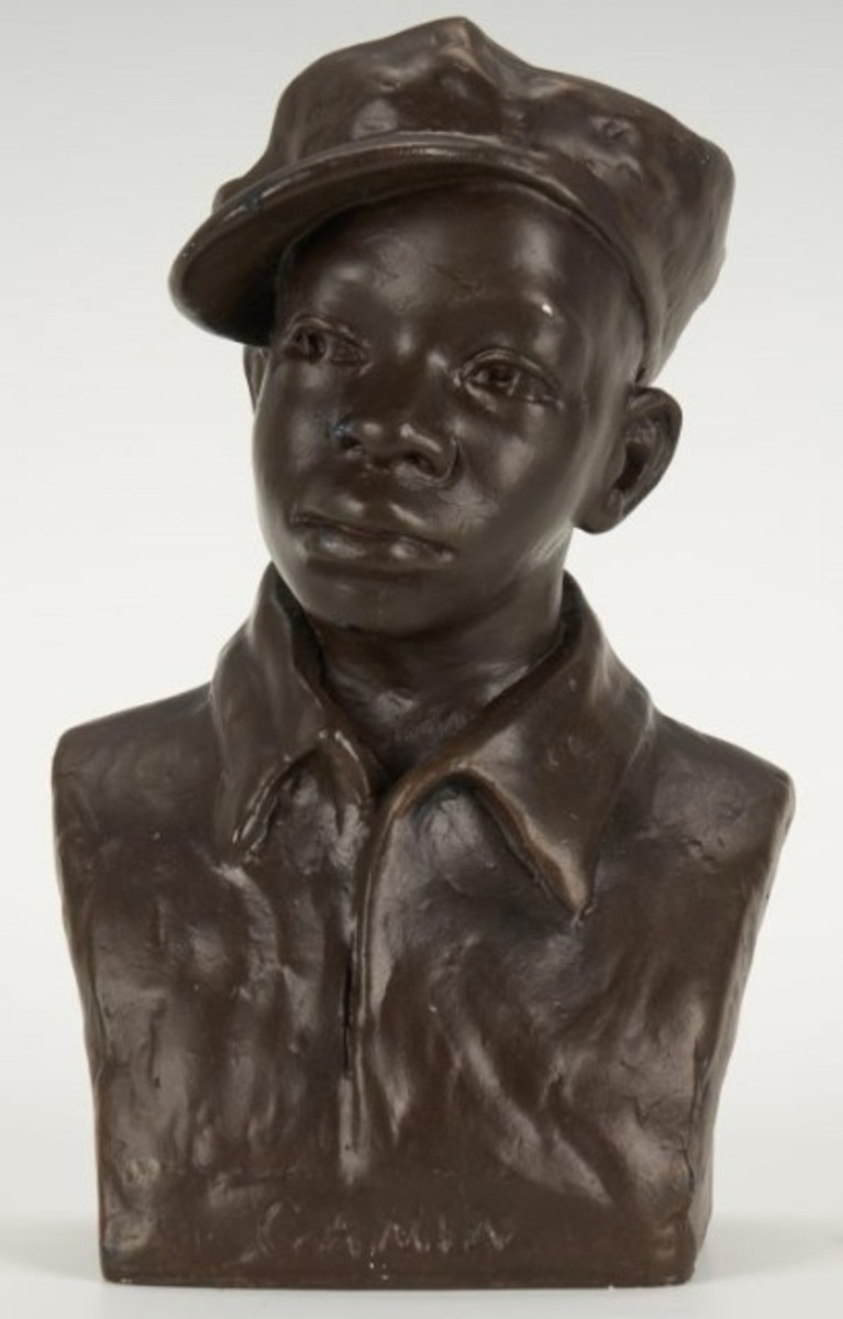 "Augusta Savage's ""Gamin"" sculptures represented children living on the streets of New York during the Great Depression. This 9-inch example in bronzed plaster hit $28,800 (estimate was $7,000-$8,000)."