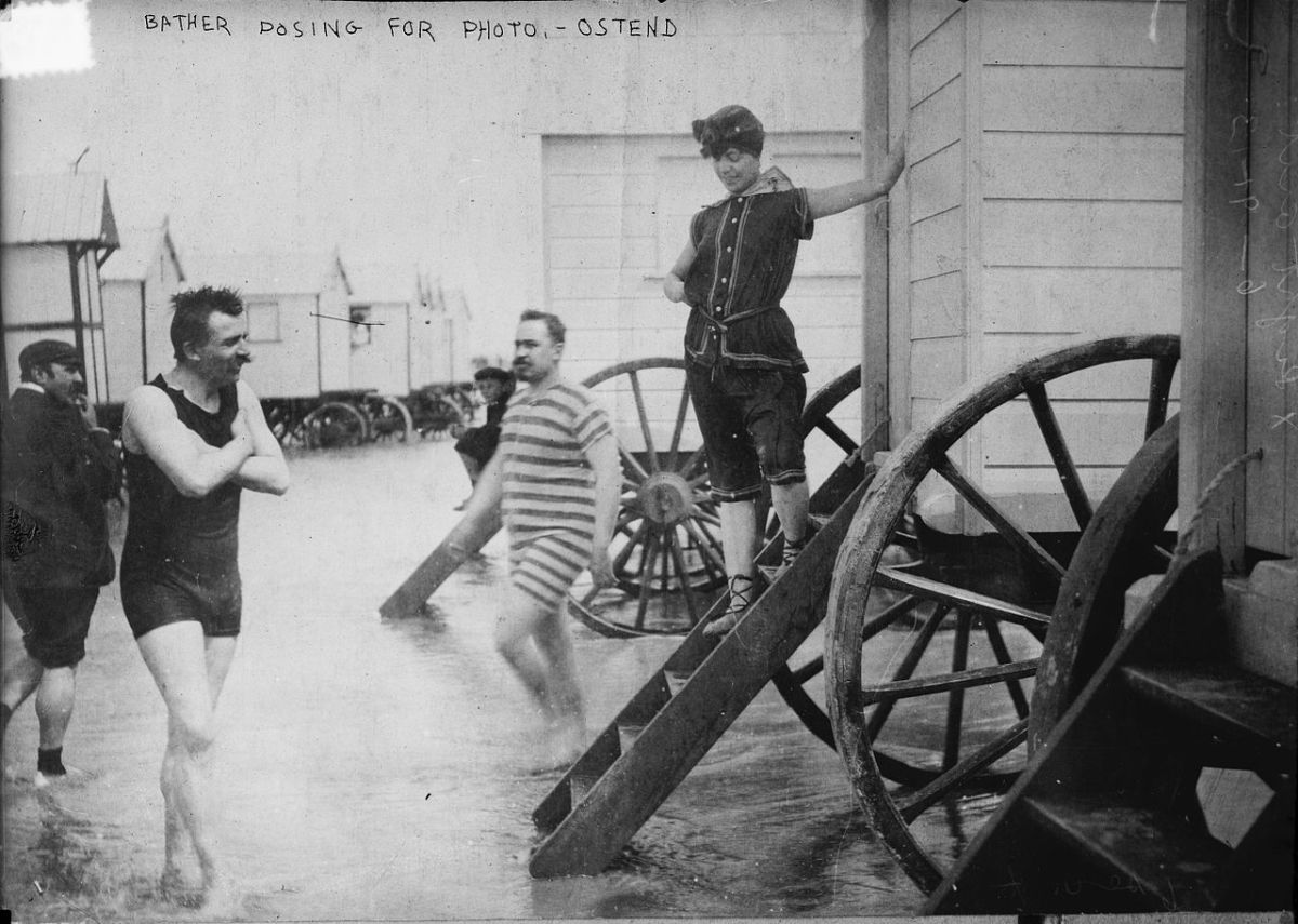 When mixed-gender bathing became acceptable, men and women could hang out at their bathing machines without causing a scandal, as they are here in June 1913, although the chap at left seems to still be feeling a bit modest.