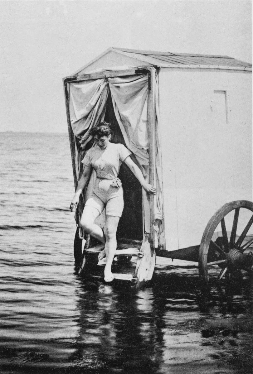 Emerging from a bathing machine in 1893, this woman only needs to take a few steps before reaching the water, and hopefully also be away from any prying eyes.