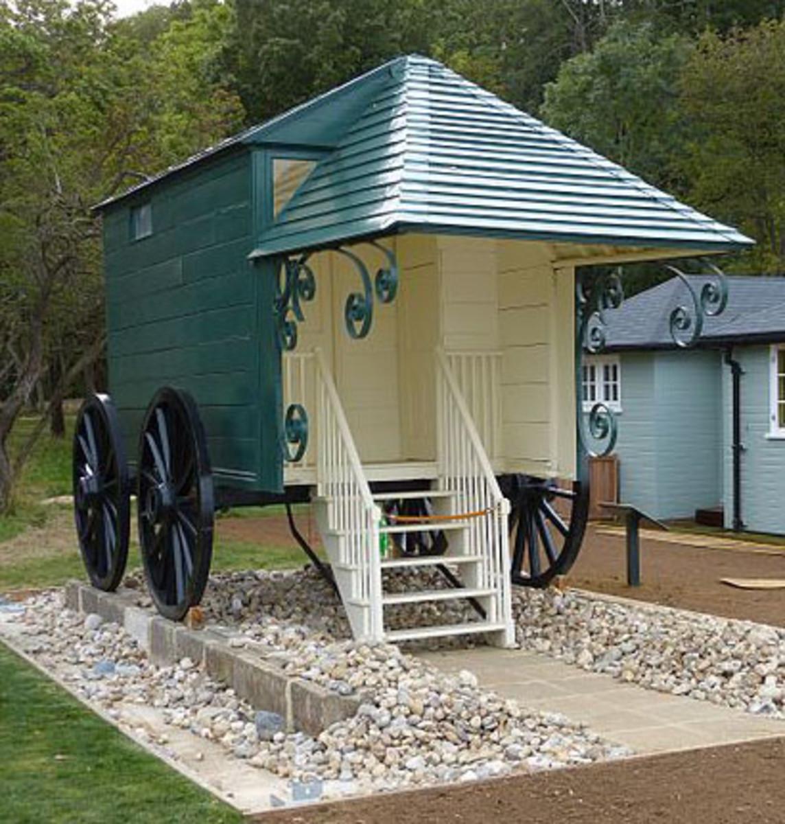 Queen Victoria's fancy bathing machine, which has been restored.