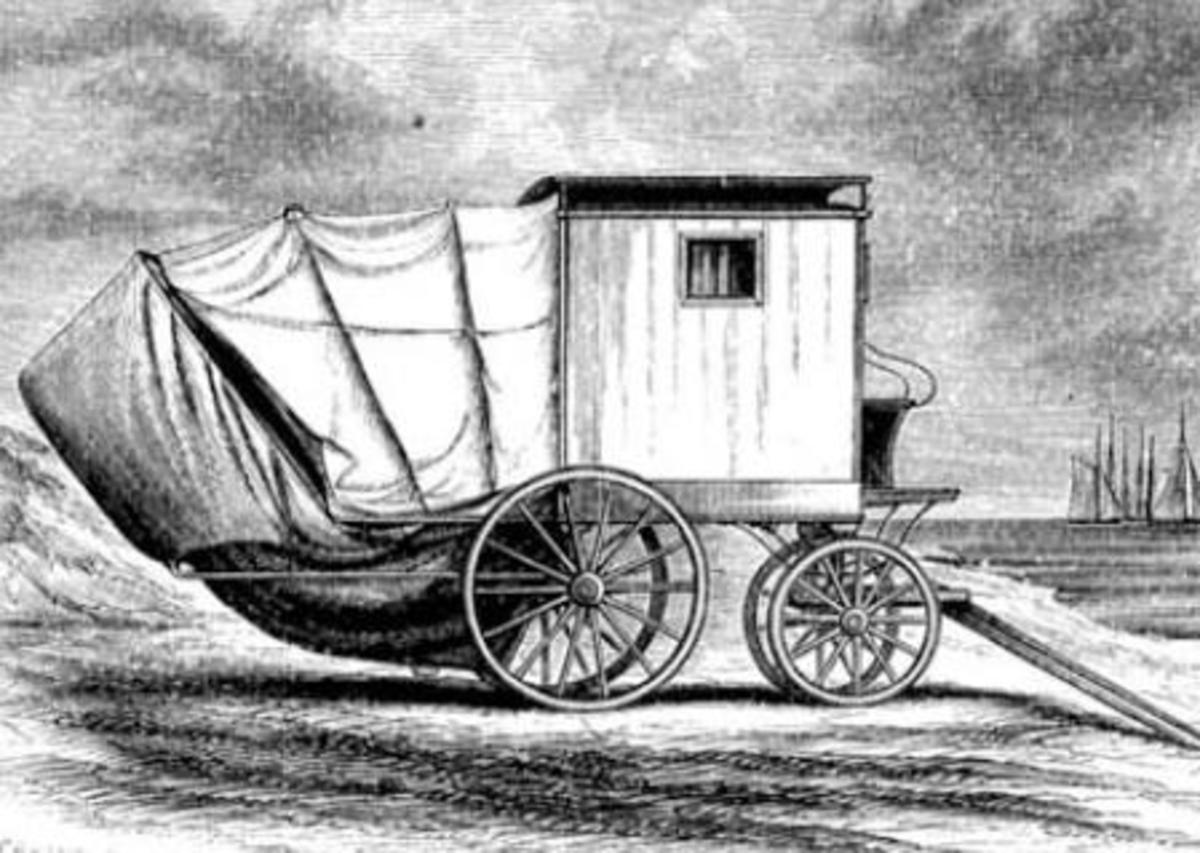 An example of an early bathing machine, equipped with a canvas tent lowered from the seaside door for extra privacy.