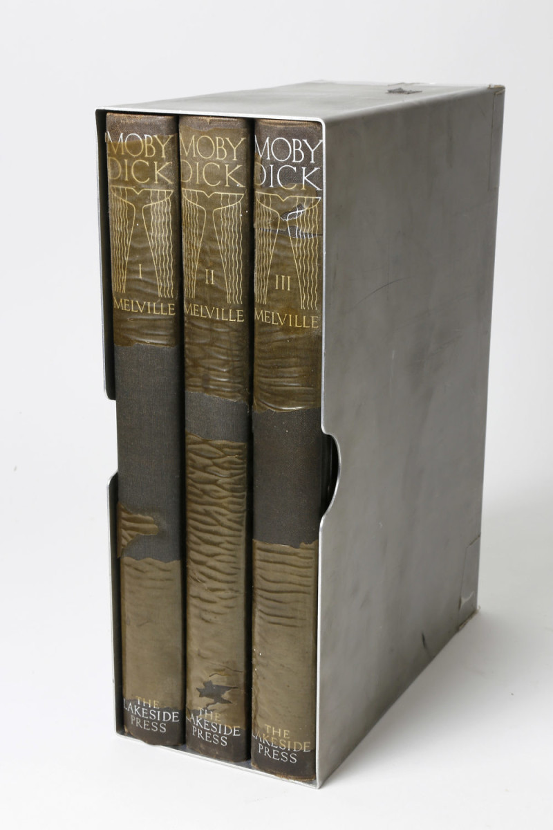 1930 first edition of Herman Melville's Moby Dick, limited edition of 1,000, with illustrations by Rockwell Kent, Lakeside Press, Chicago. Estimate: $5,000-$7,000.