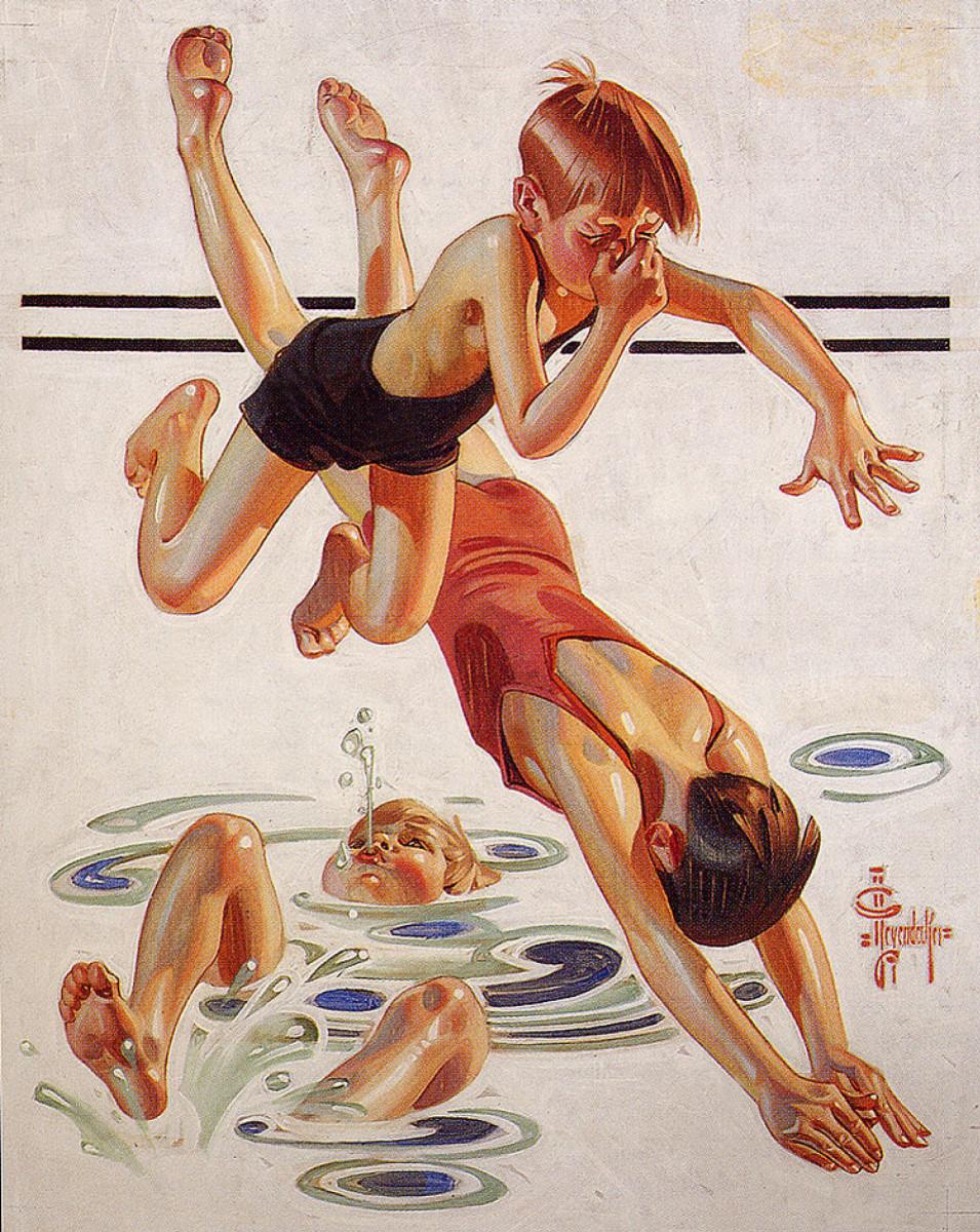 """""""Pool"""" by J. C. Leyendecker, 1935."""
