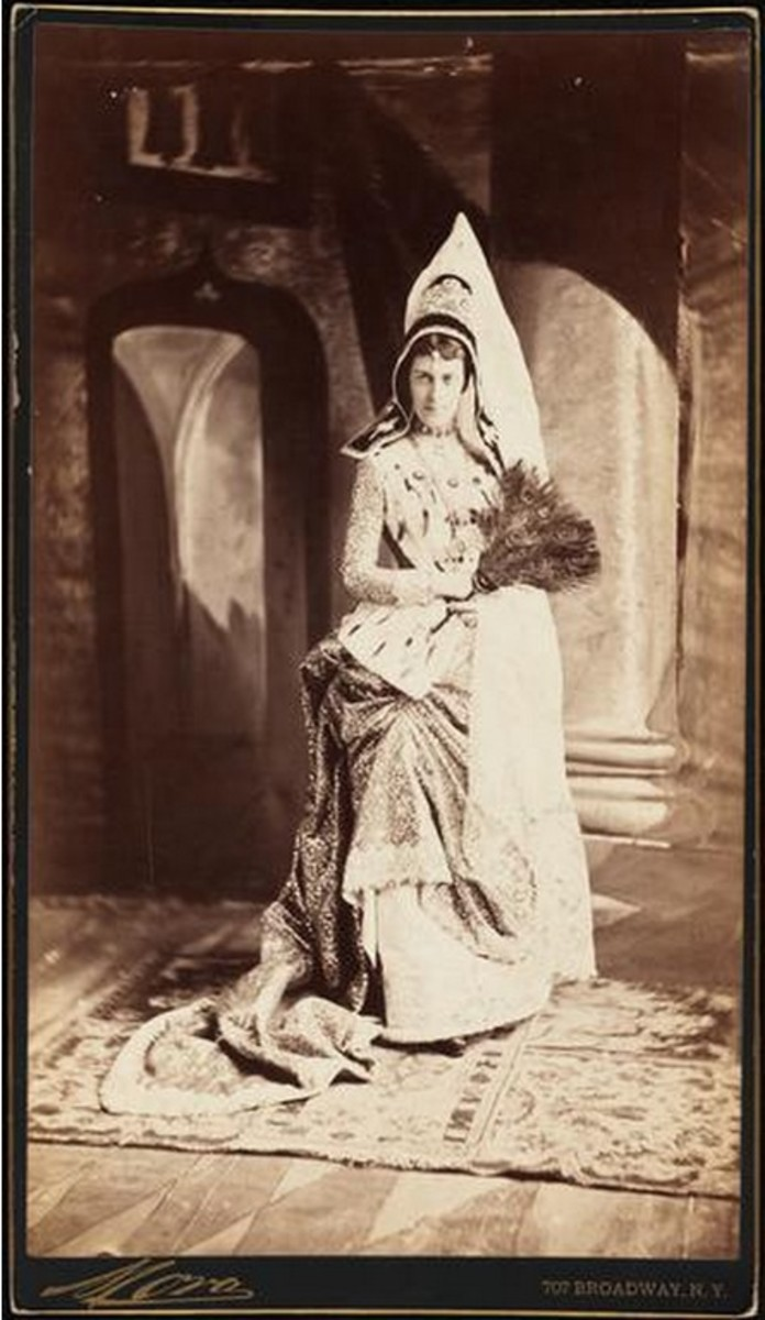 Miss Edith Fish was dressed as the Duchess of Burgundy, with real sapphires, rubies and emeralds studding the front of the dress.