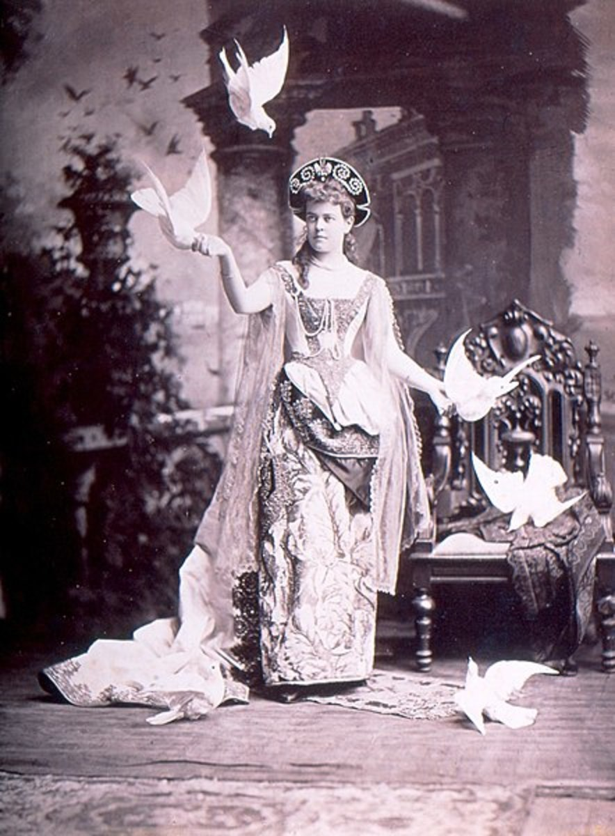"""Alva Vanderbilt at her official opening of the chateau in March 1883, in her costume of a """"Venetian Renaissance Lady."""" The photographer apparently added the birds in later, for whatever reason."""