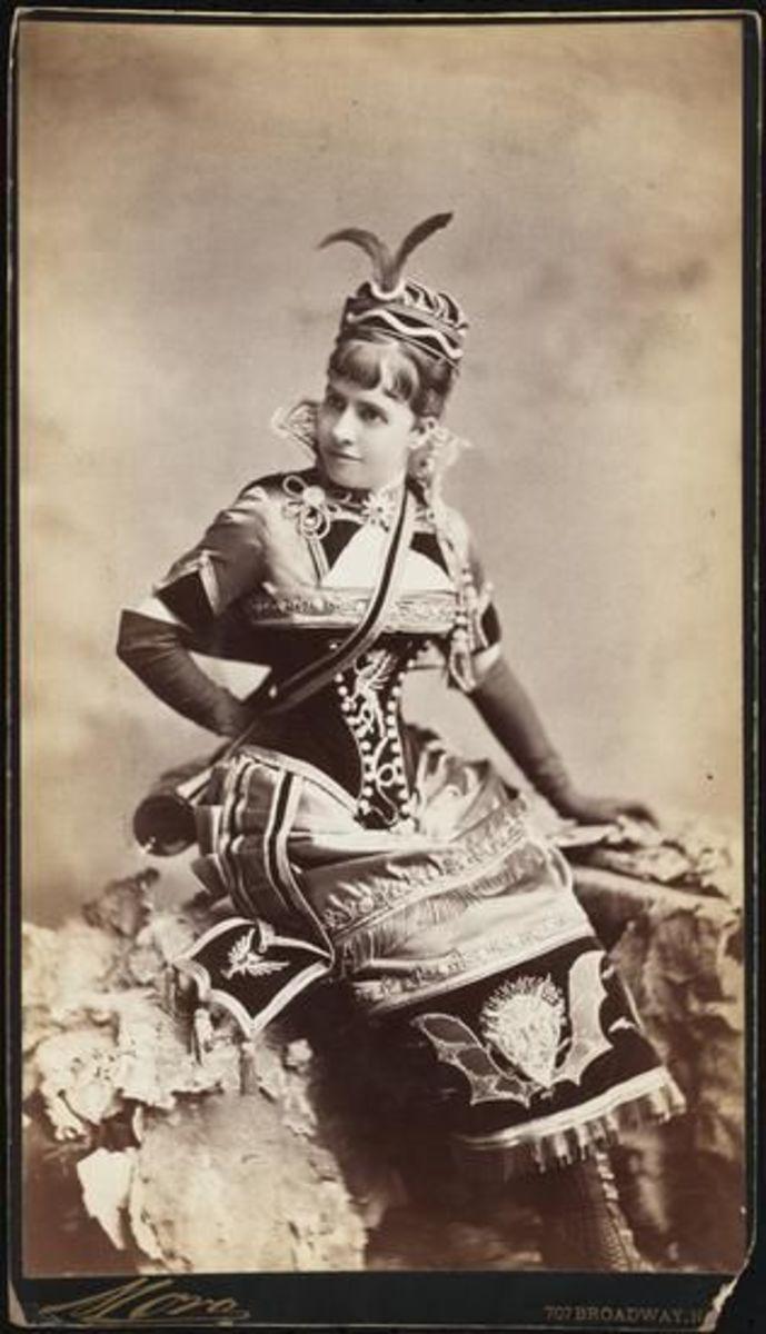 "Miss Elizabeth ""Lizzie"" Pelham Bend, dressed as Vivandiere du Diable possibly for the Opera Bouffe quadrille."