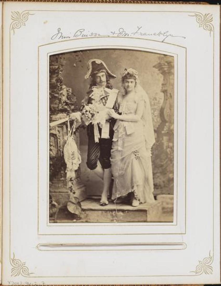 Engaged couple Agnes Binsse and Reginald Francklyn, dressed as Incroyables, a reference to French society.