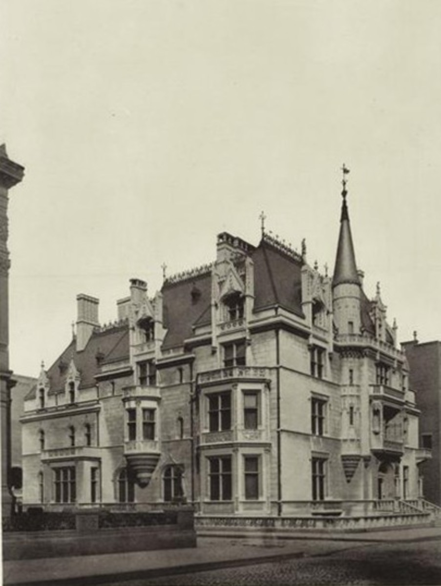 """The home of Mr. and Mrs. Alva and William Kissam Vanderbilt, in a photo from 1886. The home was known as the """"Petit Chateau"""" and designed by renowned architect Richard Morris Hunt."""