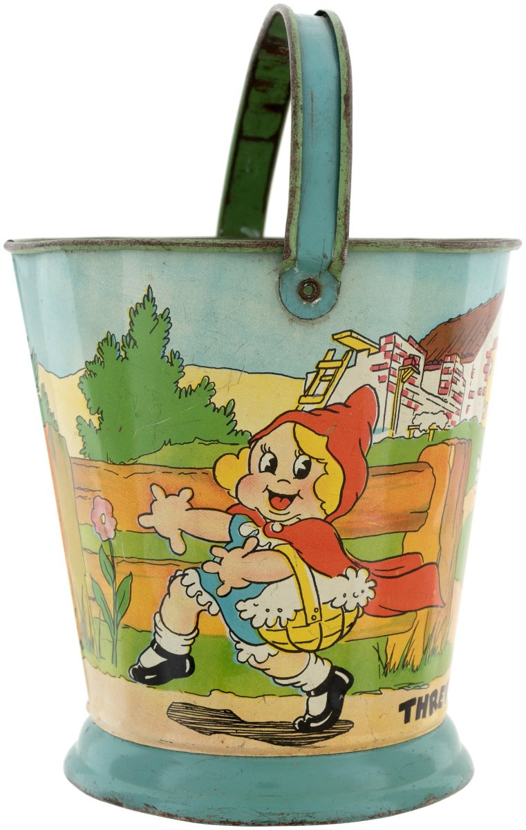 """A rare Three Little Pigs and Little Red Riding Hood tin litho sand pail, Ohio Art, c. 1934, 5-5/8"""" h (8"""" h to top of raised handle); $1,153."""