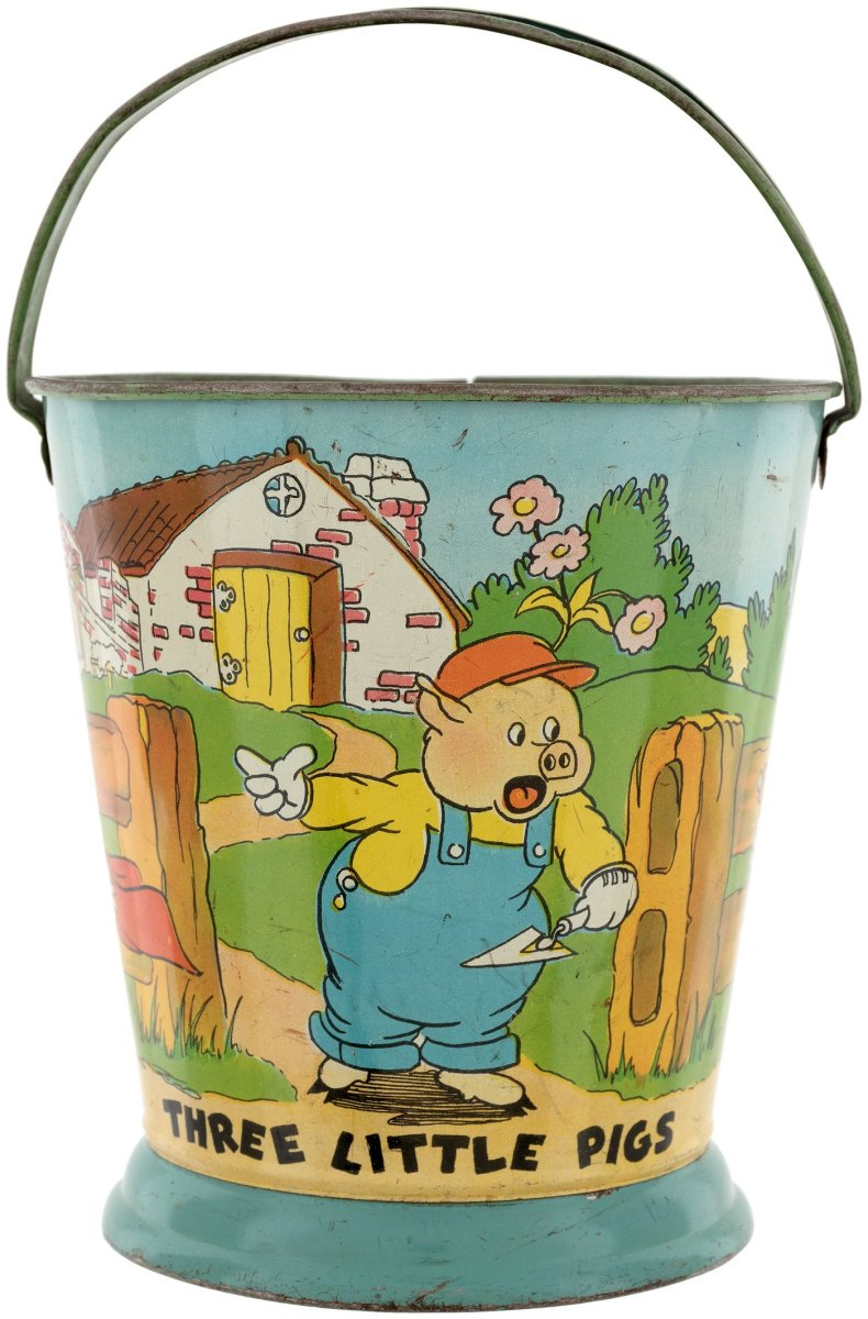 The other side of the Three Little Pigs and Little Red Riding Hood tin litho sand pail.