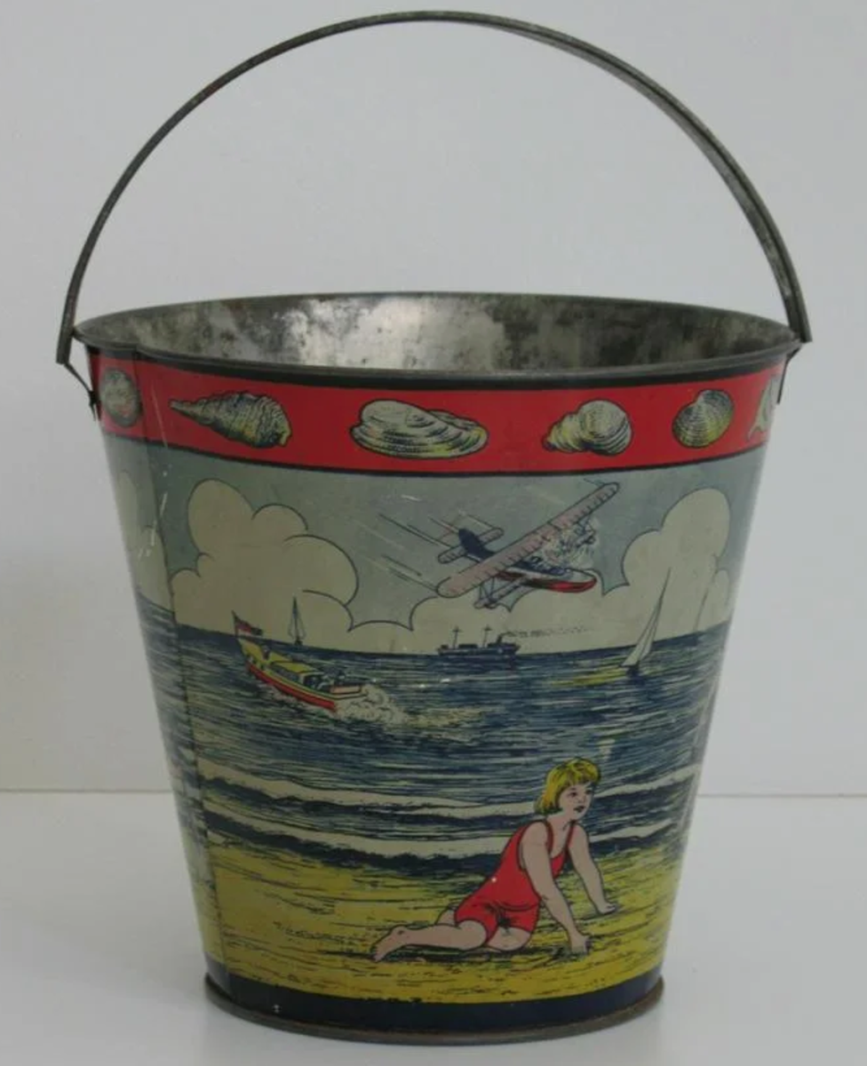 """An early New England sand pail, 1930s,  6"""" h, $250-$350."""