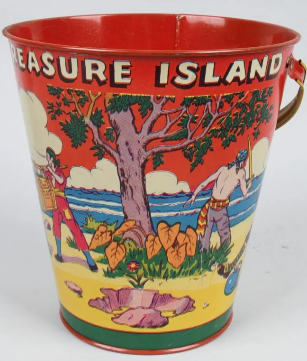 """A Treasure Island pail with pirate graphics, 8"""" h,sold as a lot with the eagle pail above."""