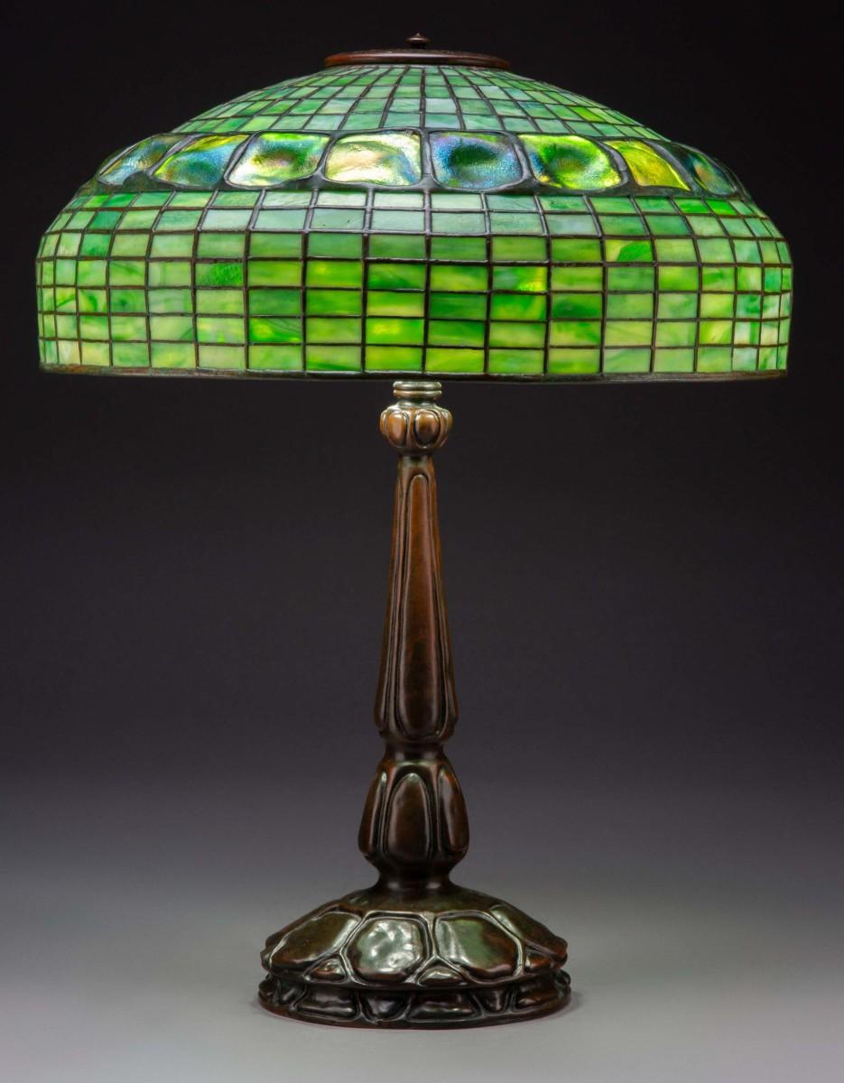 Tiffany Studios Leaded Glass and Bronze Turtleback Table Lamp, circa 1907.