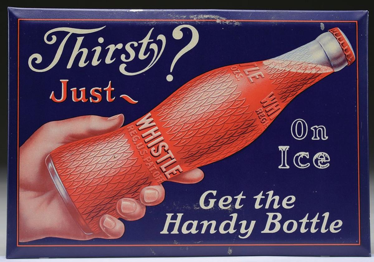 Whistle Soda tin sign, 1920s.