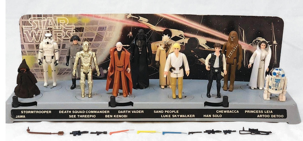 The first 12 Star Wars action figures in a rare Early Bird display.