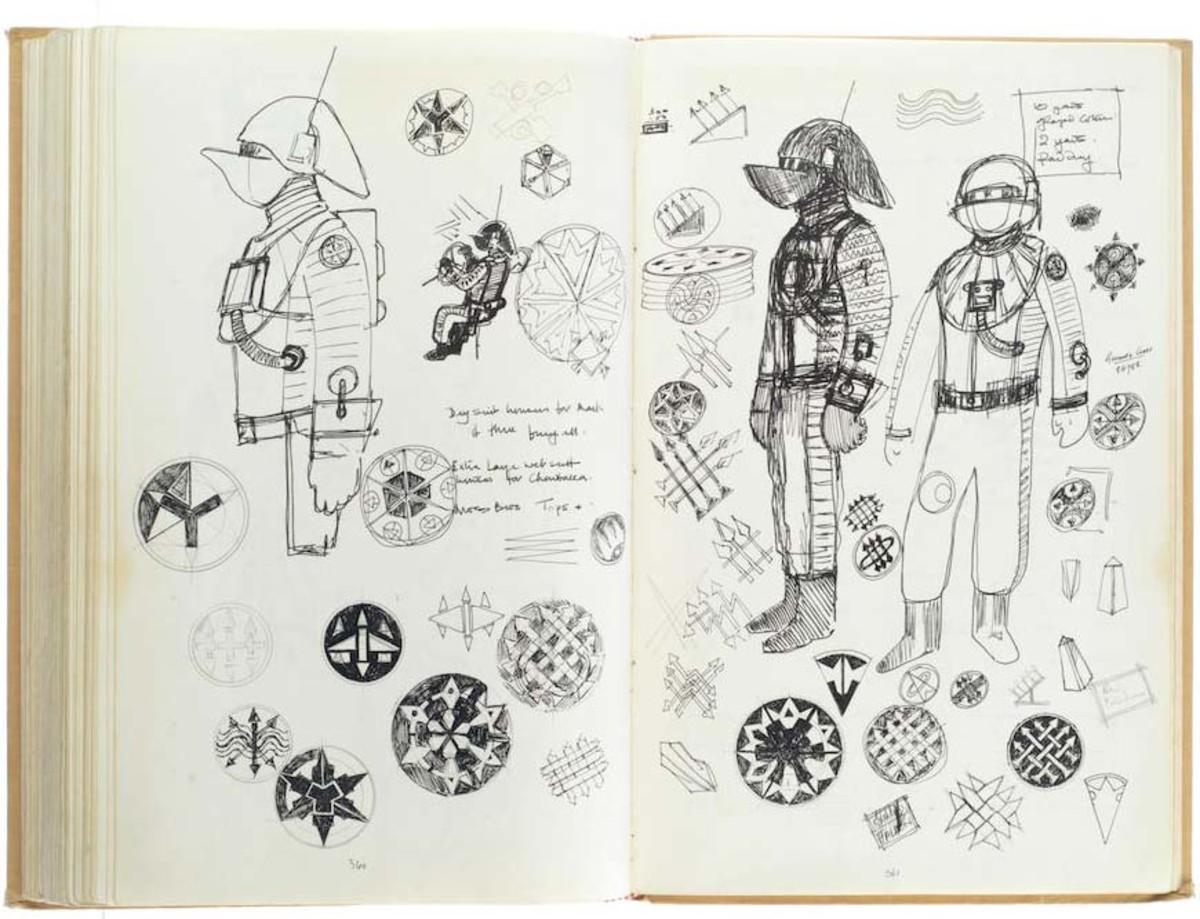 Star Wars costume designer John Mollo's sketches.