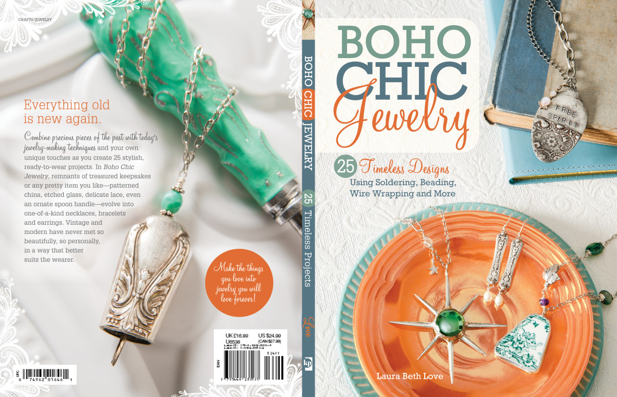 Love's first book, Boho Chic Jewelry, teach readers how to create jewelry with their own heirloom or thrifted pieces.