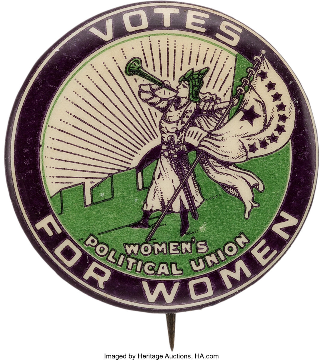 """Button showing a suffragette blowing the clarion trumpet on the ramparts, holding a banner with ten stars, inscribed """"Votes For Women. Women's Political Union."""" Women's Political Union of New York City back paper, 1-1/4""""; $1,000."""
