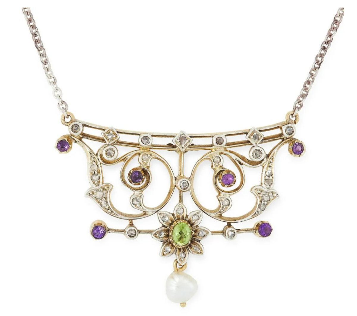 An antique suffragette pendant necklace in silver and gold, the scrolling design set with an oval-cut peridot, round-cut amethysts and rose-cut diamonds, suspending a pearl, $550.
