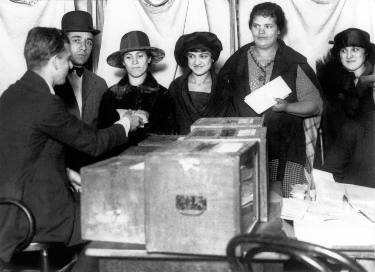 Women line up to vote for the first time in New York after the passage of the 19th Amendment, 1920.