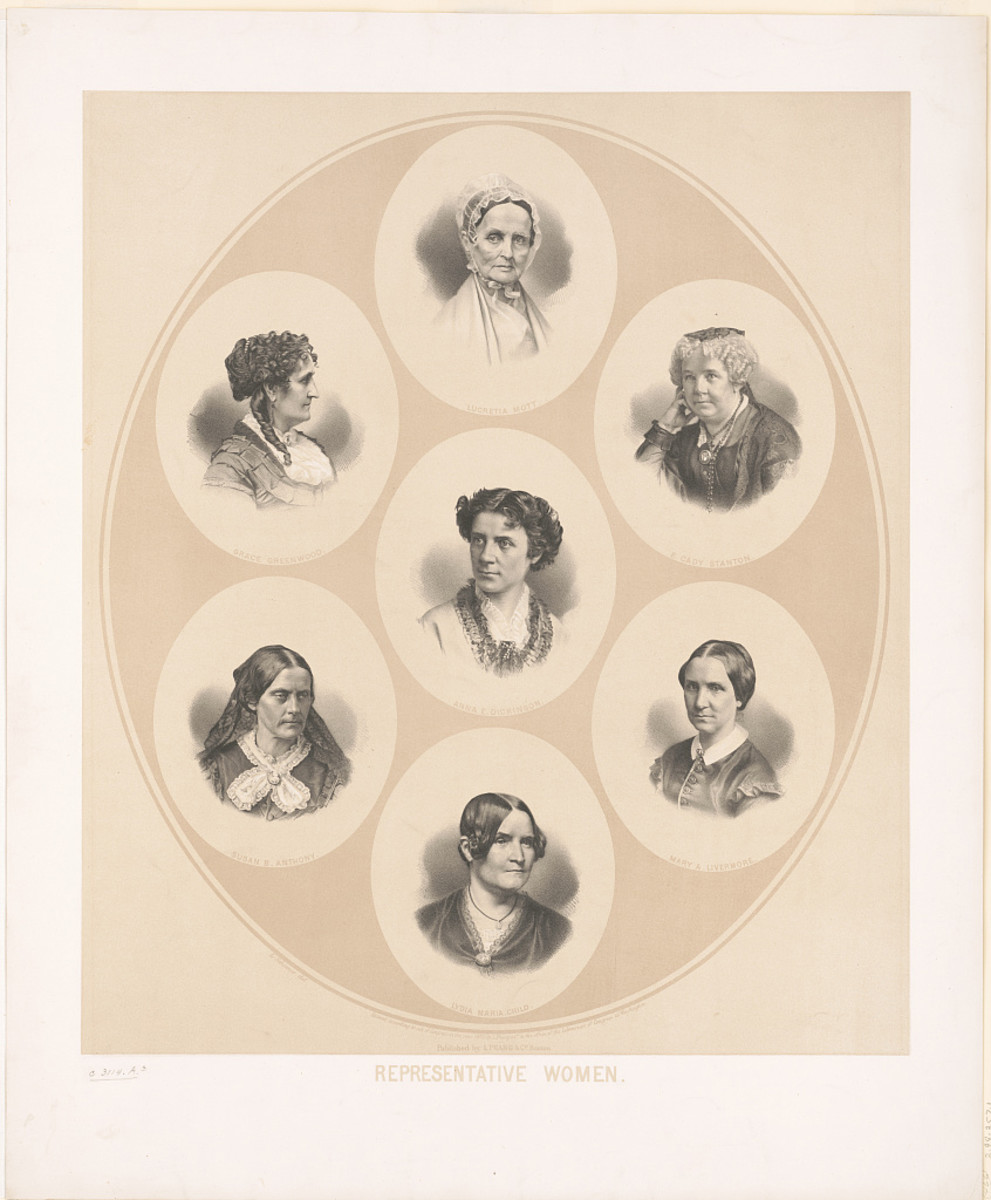 Portraits of seven prominent figures of the suffrage and women's rights movement, circa 1870, clockwise from top: Lucretia Mott, 1793-1880; Elizabeth Cady Stanton, 1815-1902; Mary A. Livermore, 1820-1905; Lydia Maria Child, 1802-1880; Susan B. Anthony, 1820-1906; Grace Greenwood, 1823-1904; and Anna E. Dickinson, 1842-1932 (in the middle).