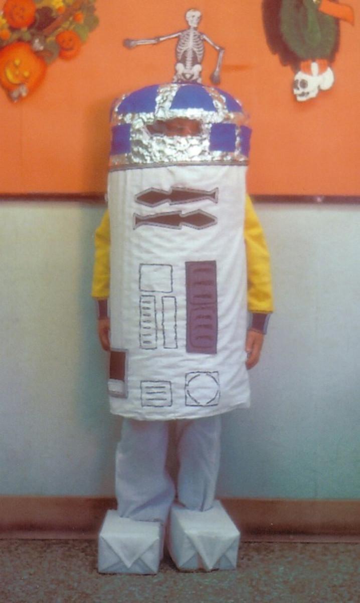 Homemade R2-D2 Halloween costume.