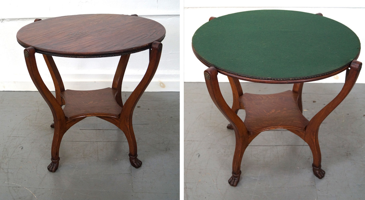 hunzinger flip top antique table