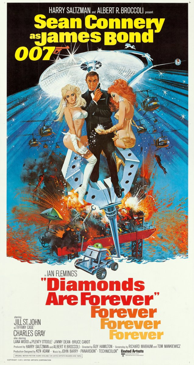 "After a brief hiatus, Connery was convinced to reprise his Bond role in Diamonds Are Forever. The movie features beautiful women, danger, diamonds, the bright lights of Las Vegas and the lovely Jill St. John. That's all you need to know about this Bond adventure from 1971. This 81"" x 81"" poster sold for more than $400 at auction."