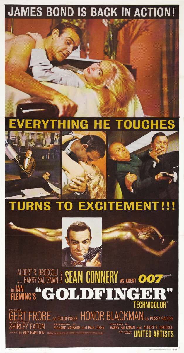 Connery returned as James Bond in 1964 to take on the mad genius of Auric Goldfinger and his dreamy assistant Pussy Galore in their plot to capture Fort Knox. Big, bold, and breathtaking, this movie poster captures  some of the film's best moments. It sold for almost $1,800.