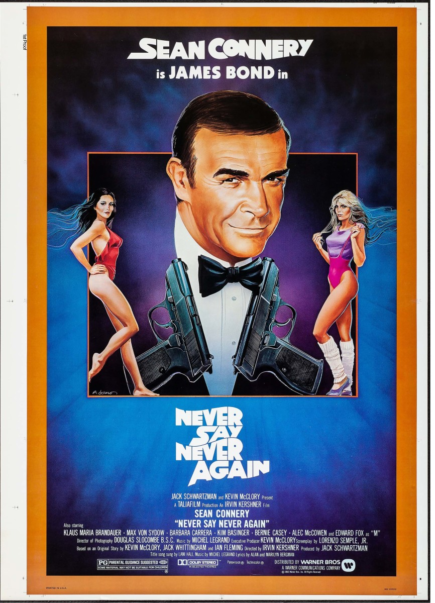 """Connery's final go as James Bond, 1983's Never Say Never Again also starred Max von Sydow, Kim Basinger, Bernie Casey and Barbara Carrera as the sinister SPECTRE assassin Fatima Blush.The film's title is a reference to Connery reportedly saying in 1971 that he would """"never again"""" play that role. Connery's last Bond movie poster sold for $600 at auction."""