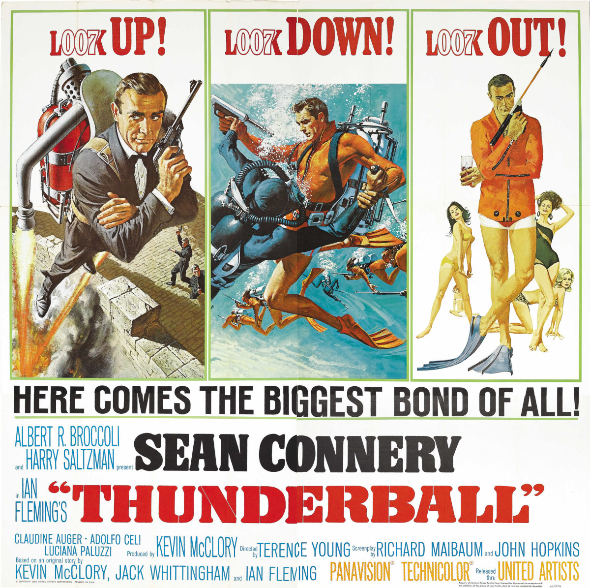 Thunderball (1965) finds Bondbattling the sinister espionage organization SPECTRE, which has hijacked a pair of nuclear bombs and is threatening to use them unless a ransom of 100,000,000 pounds is paid. The mastermind behind this scheme is Emilio Largo, who has a nasty habit of feeding his adversaries to his pet sharks. The poster is one of the best ever made for the Bond franchise. It sold for $2,000.