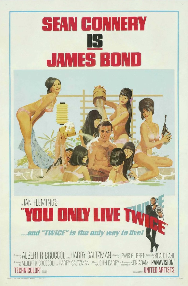 In 1967's You Only Live Twice, Bond, is called in to solve the mystery of an American space capsule that appears to have been swallowed up by a Russian spaceship, causing a near breakout of World War III. The British government believes, however, that other powers may have been responsible. The movie poster sold for $660.