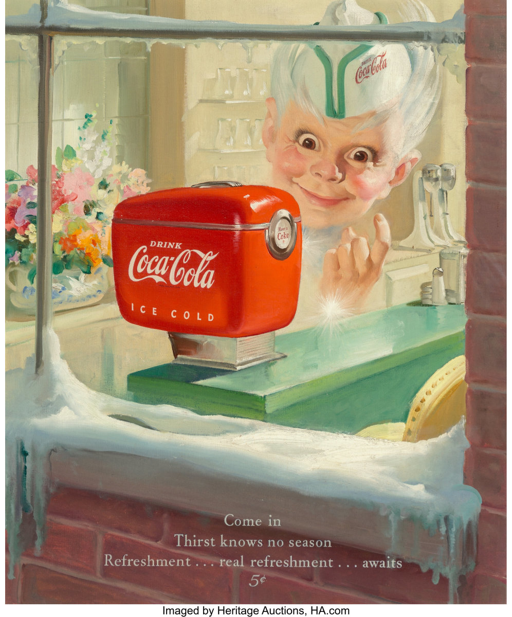 """Sprite Boy Coca-Cola advertisement, 1949, oil on canvas by Haddon Hubbard Sundblom (American, 1899-1976), 23"""" x 19"""", recently sold at Heritage Auctions for $11,250. This was exhibited at the Norman Rockwell Museum's """"The Spirit of Giving Illustrated,"""" November 16, 2019-February 9, 2020."""