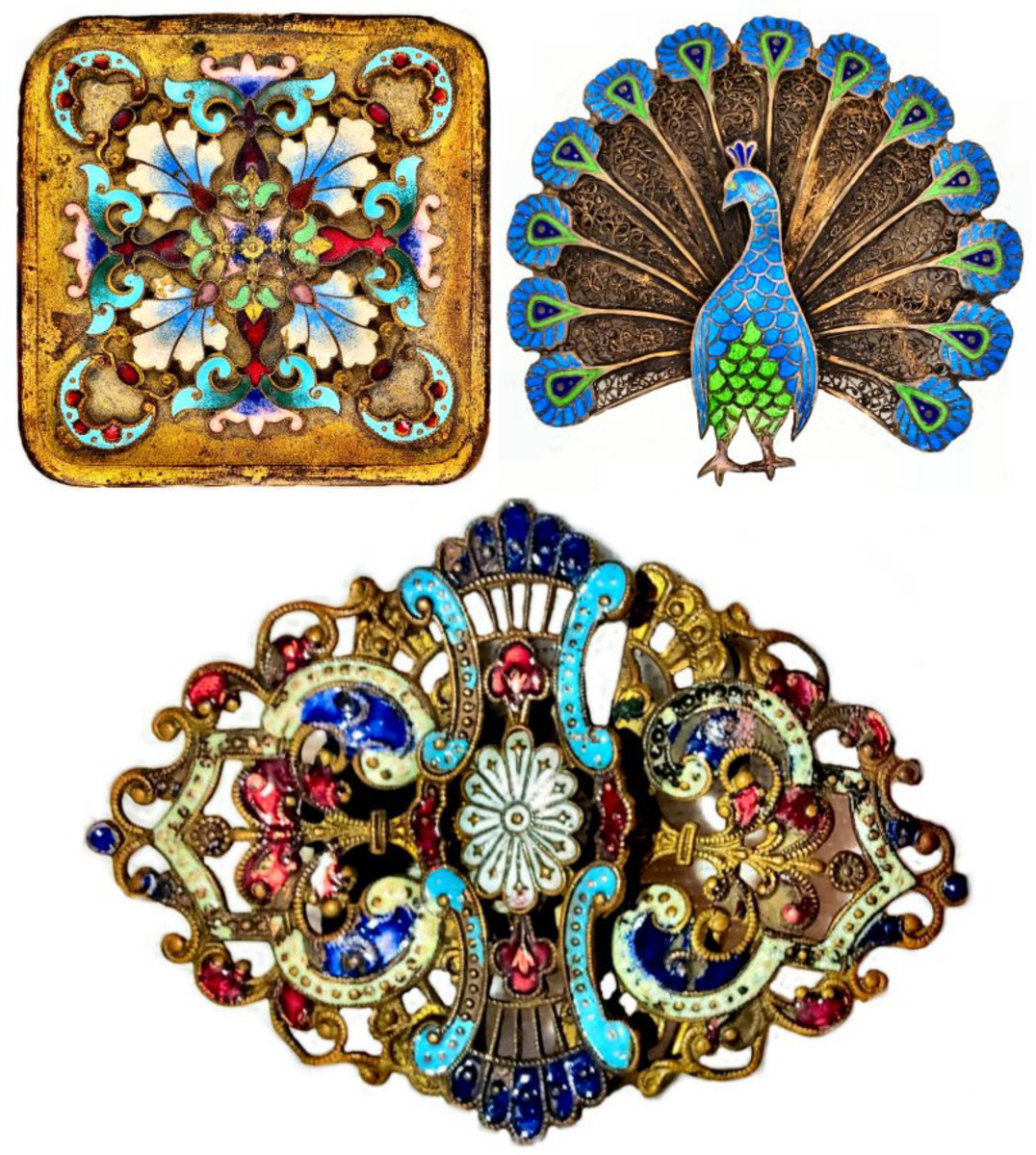 A combination of cloisonné and champlevé can be found in a single piece. These pieces open the door to interesting discussions as to whether a piece is cloisonné or champlevé. These are examples of pieces some would identify as Cloisonné, others as champlevé, and others as a combination. Certainly, the 20th century peacock brooch from Portugal displays characteristics of both. The tips of the tail feathers are champlevé, whereas the body is clearly cloisonné. At the upper left is a late 19th century gilt and intricately enameled box from France. The piece at the bottom is an elaborate, two-piece belt buckle that would have been worn on a cloth sash. The translucency of the brightly colored enamel and delicate swirls are nothing short of dazzling.