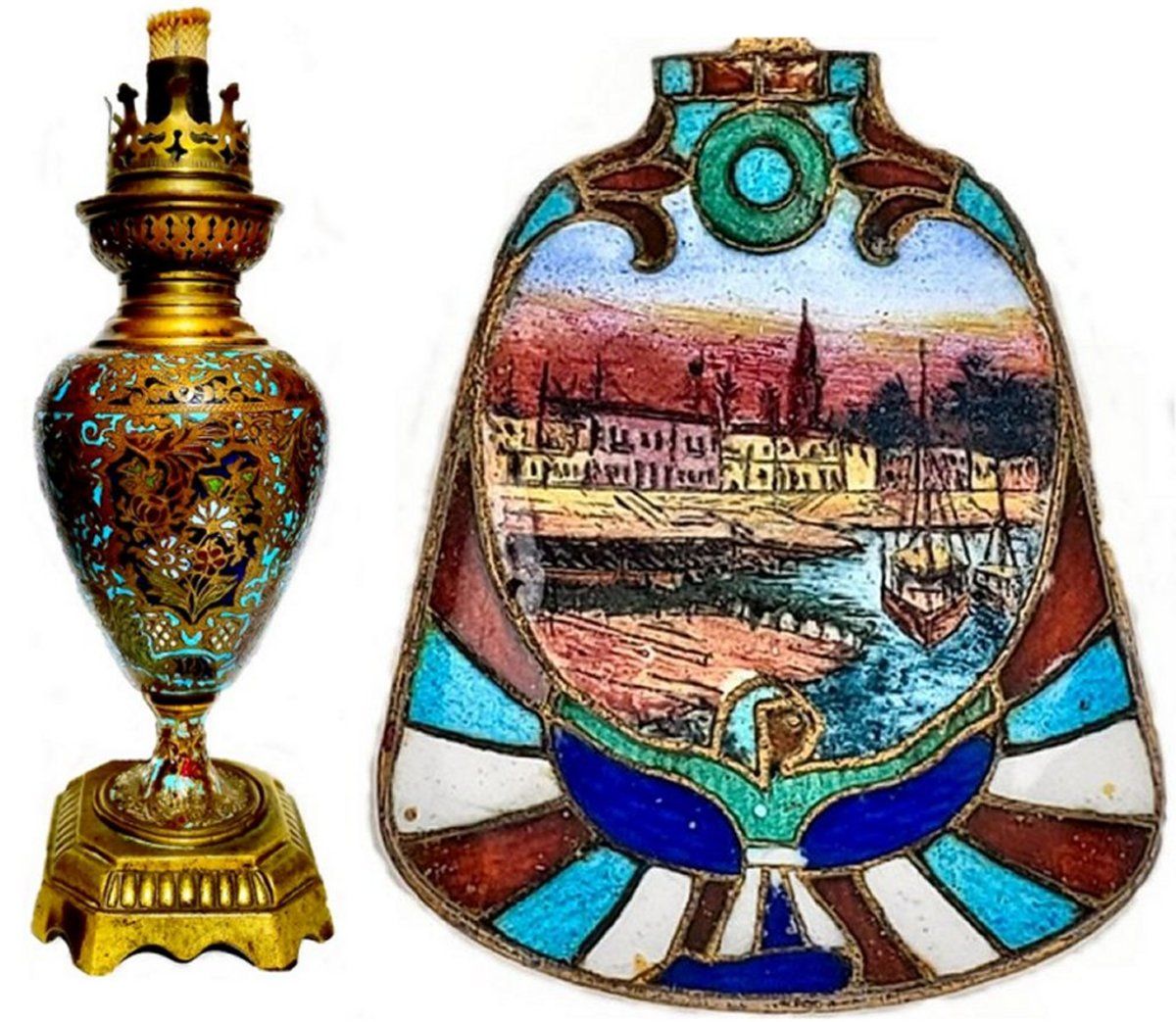 At the left is a 9-inch tall bronze lamp decorated overall in brightly colored enamel in a floral motif. The enamels are in blue, yellow, red, green, turquoise and white. The lamp was made in Leipzig, Germany by HASAG (Hugo Schneider), a company that began making lamps in 1863. The detail of the bowl of a 1920s Egyptian revival spoon, right, displays the high quality and fine detail than was achieved in the use of enamels. The absence of damage attests to the durability of enamel on this 150-year-old lamp and nearly 100-year-old spoon.