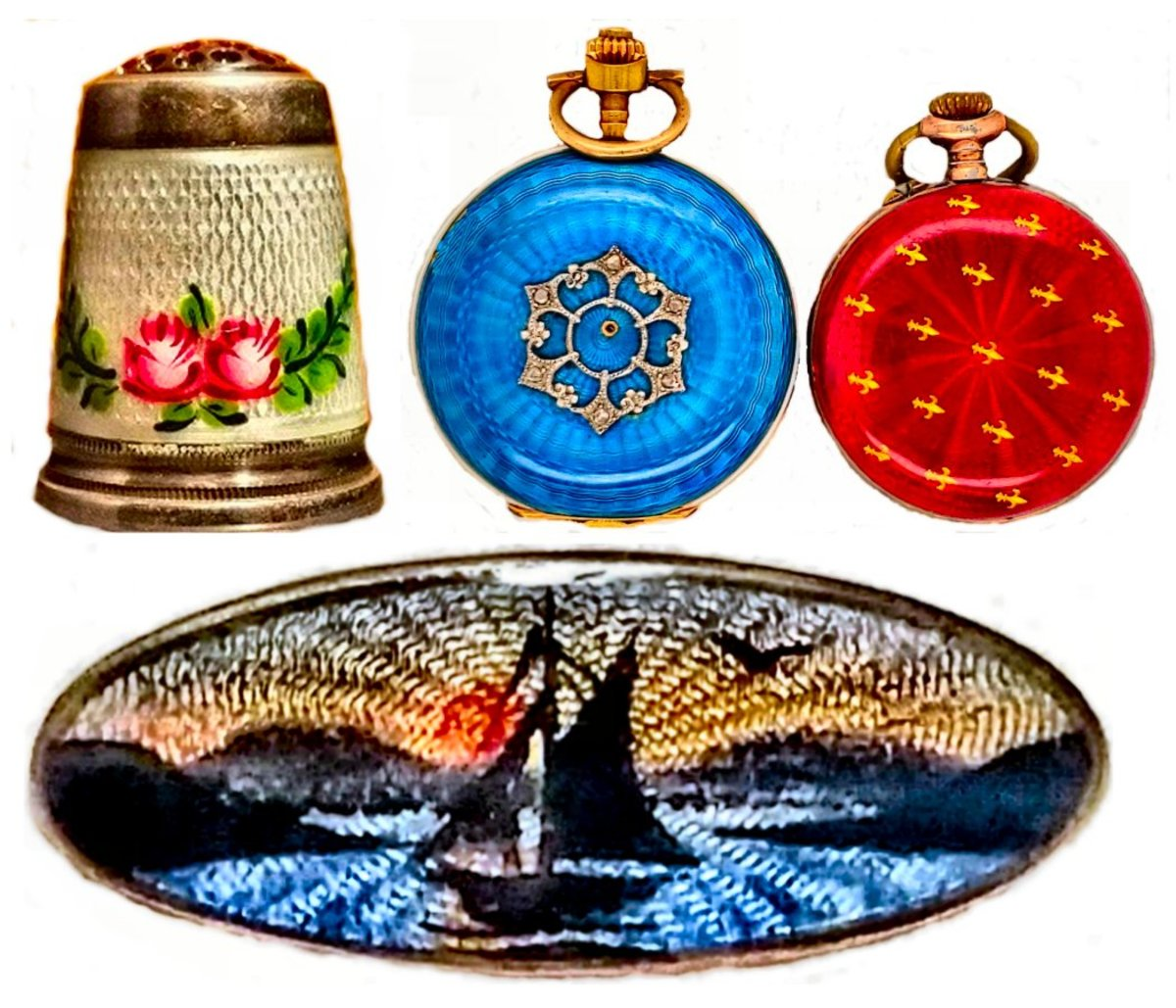 The Guilloché engraving can be readily seen beneath the translucent enamel on these items: sterling silver thimble with floral overpainting, 14kt gold ladies watch in royal blue, lady's watch in red with gilt fleur de lis, and an Albert Scharning enamel brooch depicting a sailboat during sunrise. Note how the Guilloché engraving mimics the rays of the sun and waves in the water.
