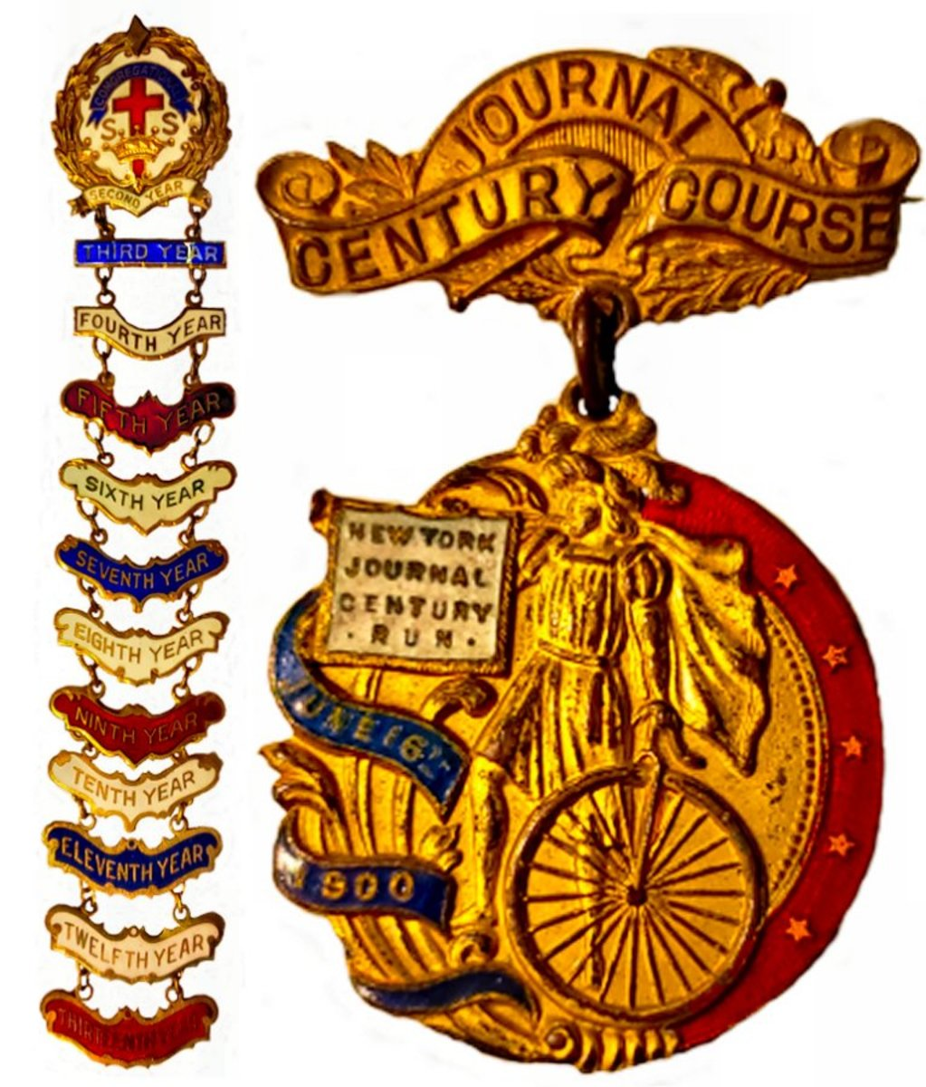 """This multicolored, religious, years-of-service enamel pin celebrated thirteen years of service with a new bar being added for each year of service. The """"Century Journal Course"""" cycling medal from June 16th 1900 is decorated with blue and red enamel that has remained almost pristine for 120 years."""