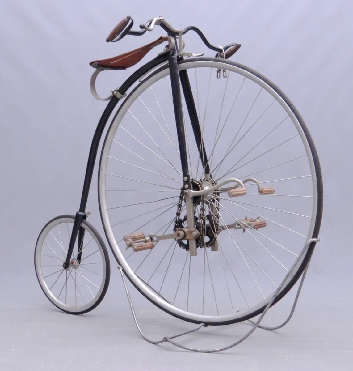 "A circa 1885 Rudge ""Kangaroo"" high wheel safety bike from the David Metz Museum, $32,760."