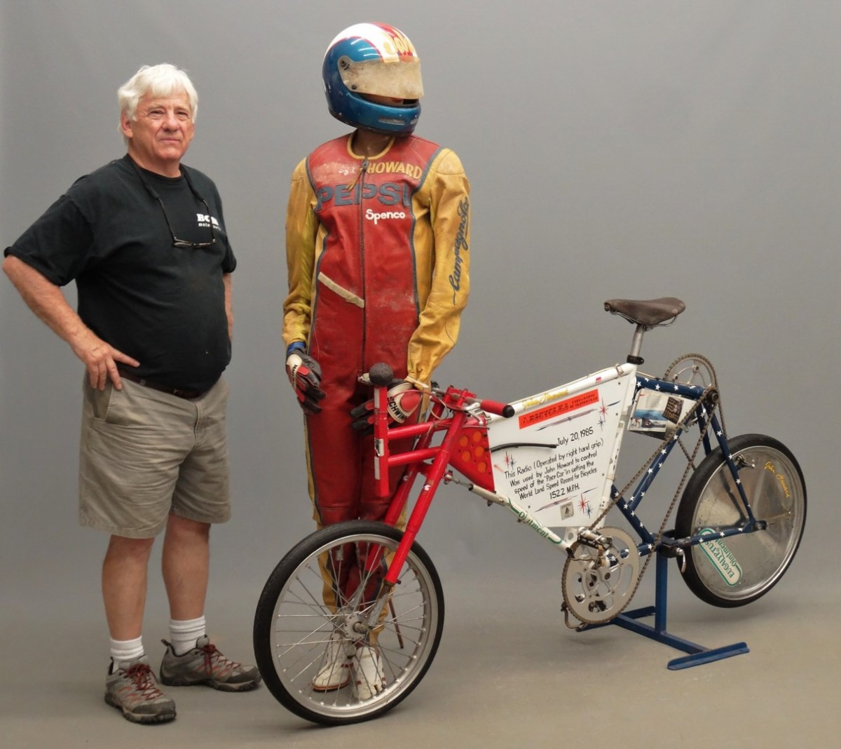 Fallon with the land speed record bicycle, $11,700.