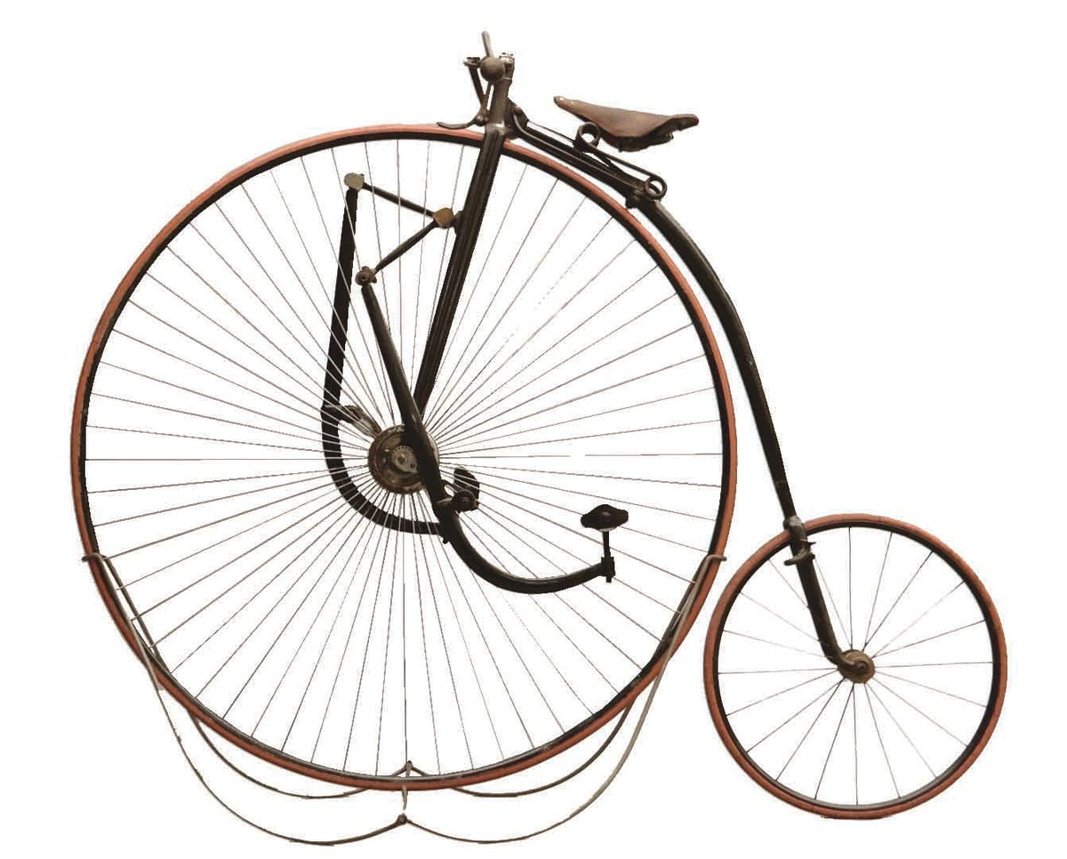 "A circa 1888 Singer Extraordinary 48"" high wheel (ordinary) bicycle, ridden in a Century and is said to have ridden well; $17,550."