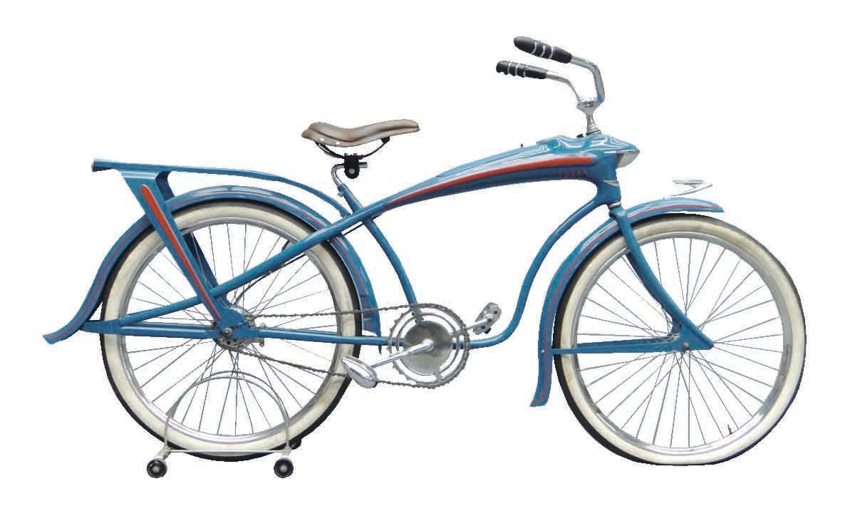 A circa 1937 Elgin Bluebird balloon-tire bicycle. This revolutionary and iconic design featured integrated speedometer, tank and lighting, with streamlined pedals, stem and fenders; $9,488.