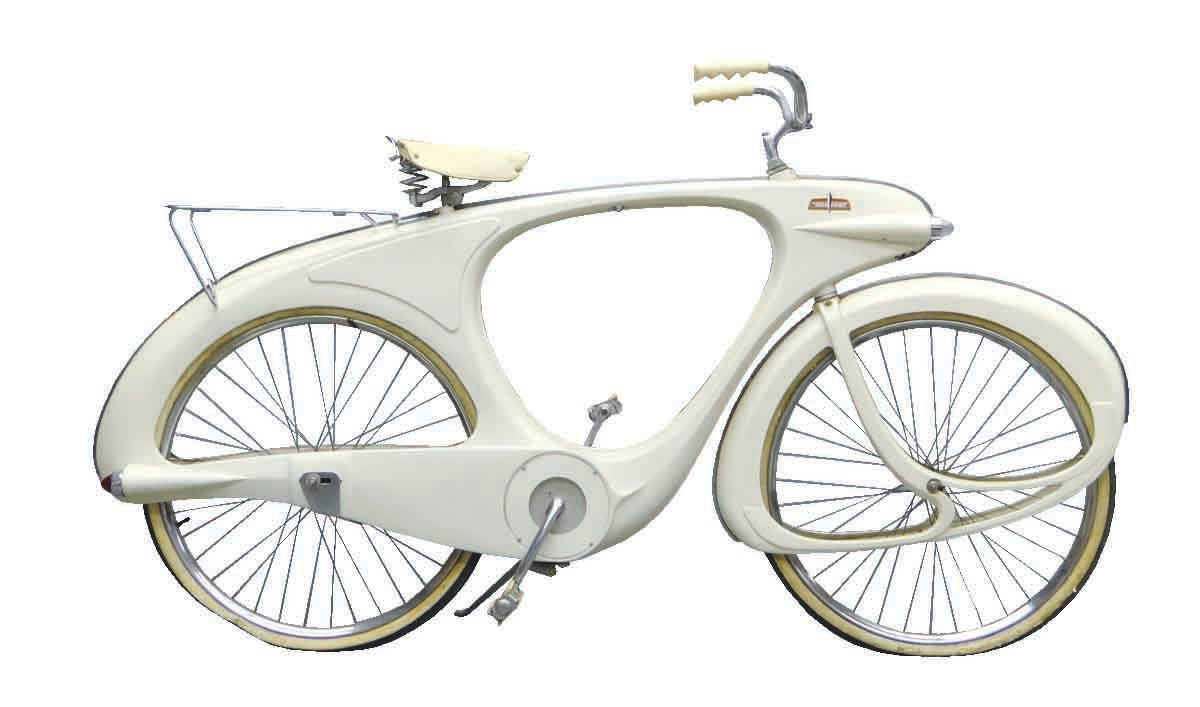 "A circa 1960 Bowden ""Spacelander"" bicycle, white fiberglass, manufactured by Bomard Industries; $13,800."