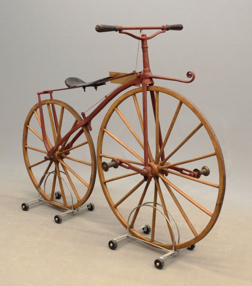 A circa 1870s child's boneshaker from the Bob Trimble Museum Collection; $7,020.