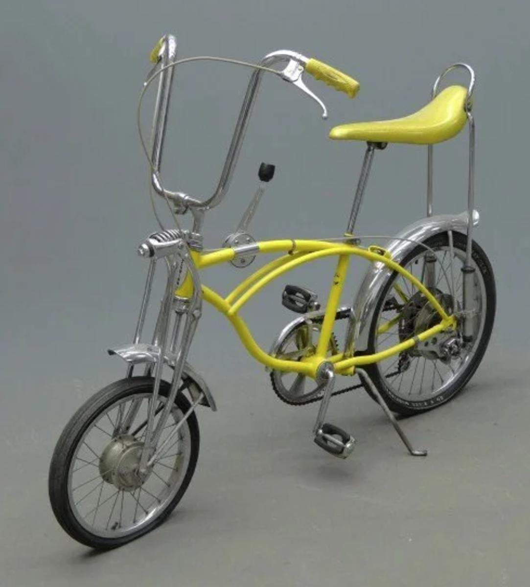 A 1971 Schwinn Stingray Lemon Peeler, 5-speed, full suspension; $1,500.