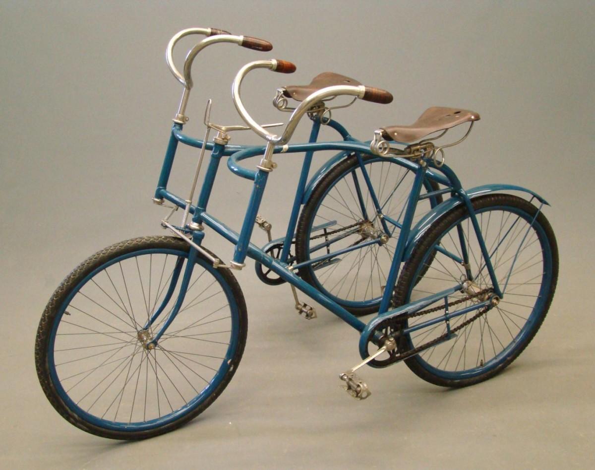 "Circa 1896 Wolff American sociable ""duplex"" tandem, $3,300."