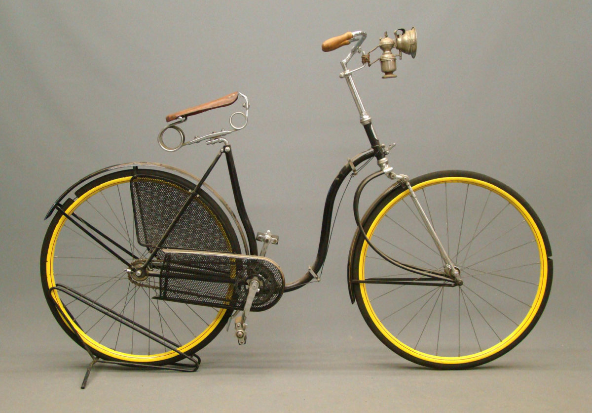 "Circa 1890 Victor female Model C ""Victoria"" cushion-tire safety bicycle, $5,250."