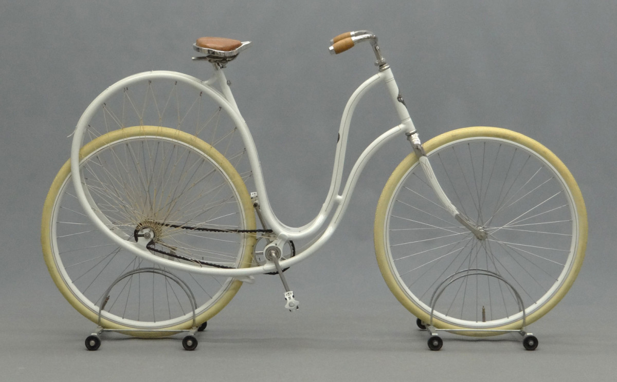 A rare circa 1898 Cygnet ladies pneumatic safety bicycle, Stoddard MFG., Co. Dayton, Ohio. This is considered one of the most stunning bicycles ever made and less than 10 examples are known to exist. From the Pedaling History Museum Collection; $24,150.