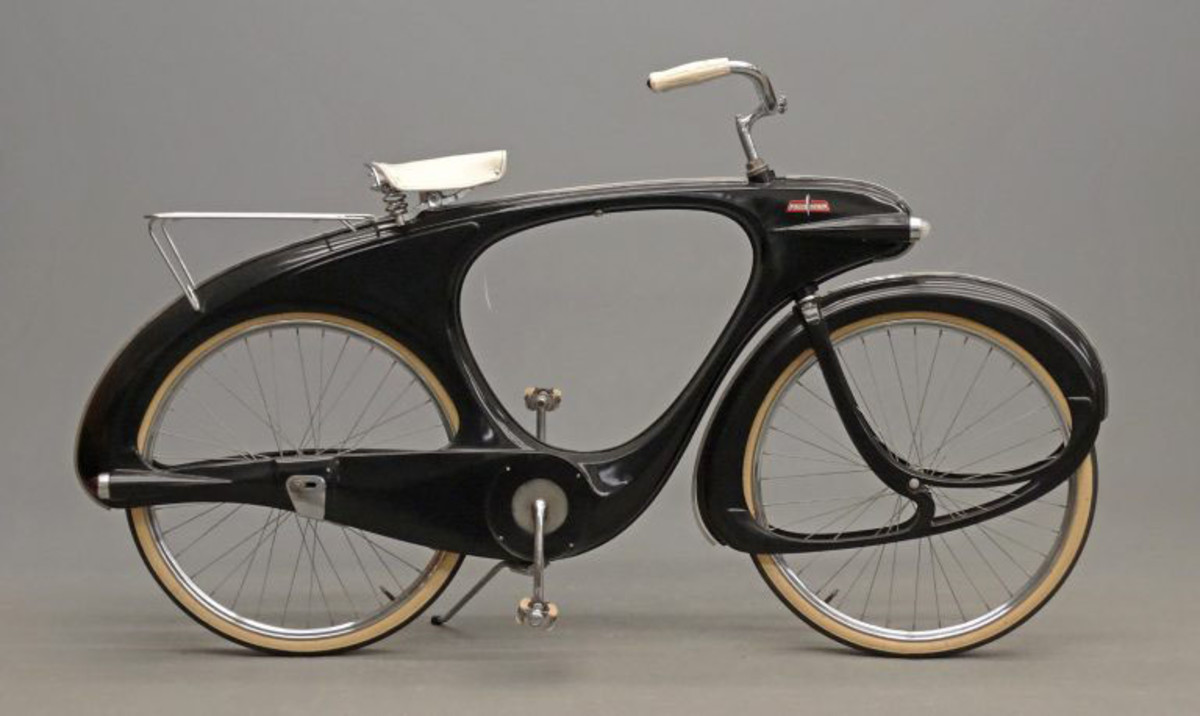 "A circa 1960s' Bowden Spacelander bicycle in ""charcoal"" black, manufactured by Bomard Industries, Grand Haven, Michigan, and designed by Benjamin Bowden, an English industrial designer noted for his work on early Chevrolet Corvettes and the iconic Ford Thunderbird. This model represents industrial design as art; $7,020."