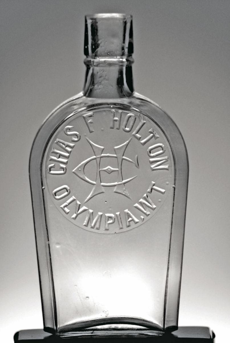 Western Shoo-Fly Coffin Flask, Pint, Clear, A. George Schneider/Black Hawk, Colo. 1870, $2,480 (July 2017).